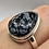 Thumbnail: Sterling Silver Obsidian Snowflake Ring Size 11