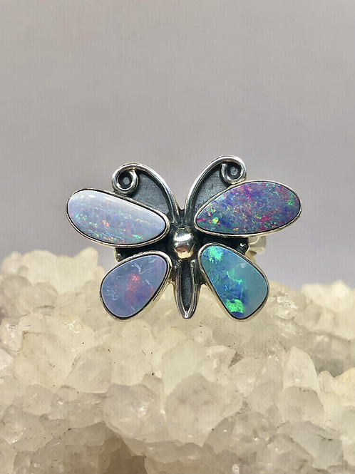 Sterling Silver Australian Opal Ring Adj