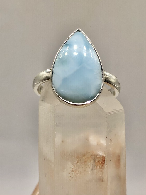 Sterling Silver Larimar Ring Size 8