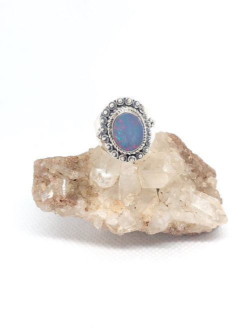 Sterling Silver Australian Doublet Opal Ring size 6