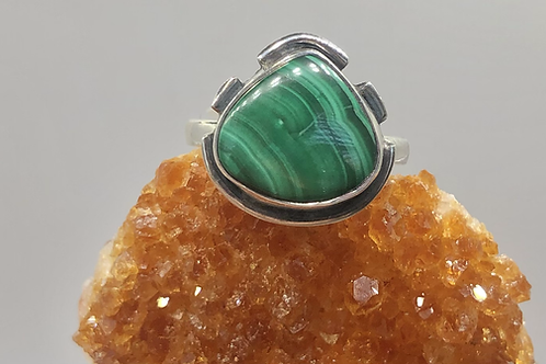 Sterling Silver Malachite Ring Size 7