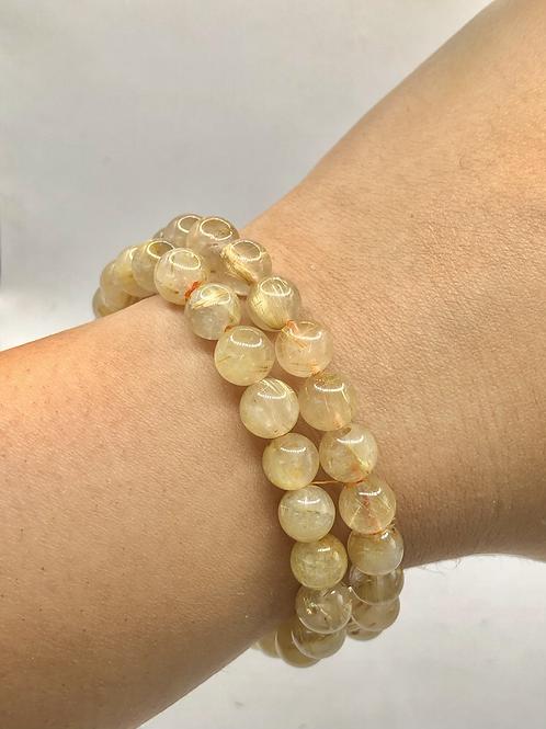 Golden Rutile Beaded Bracelet