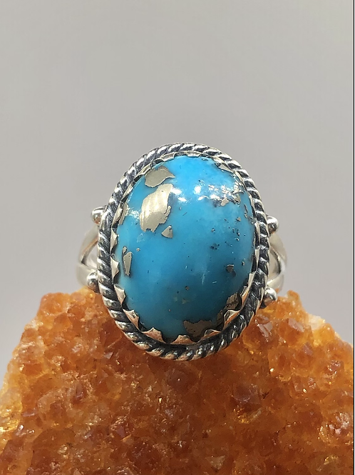 Sterling Silver Persian Turquoise Ring Size 7