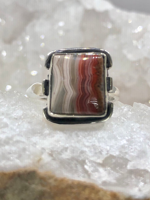 Sterling Silver Laguna Lace Agate Ring Size 6.5