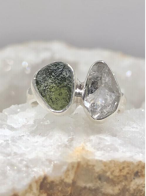 Sterling Silver Moldavite and Herkimer Diamond Ring
