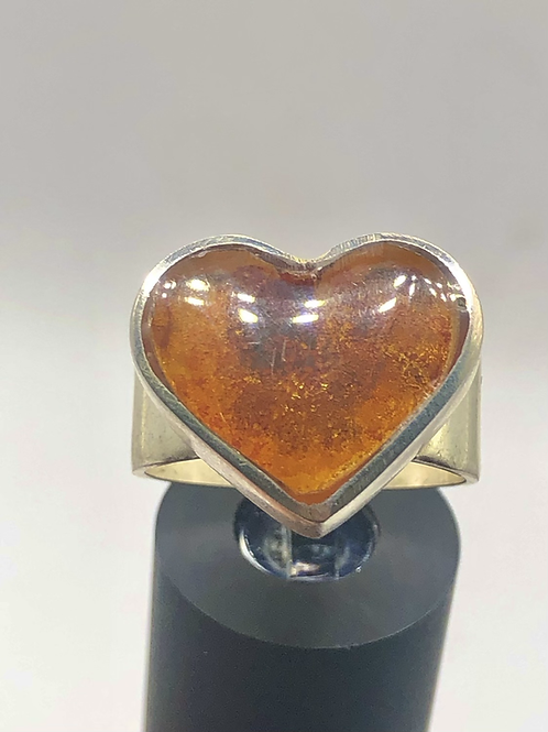 Sterling Silver Mexican Amber Ring Size 8.5