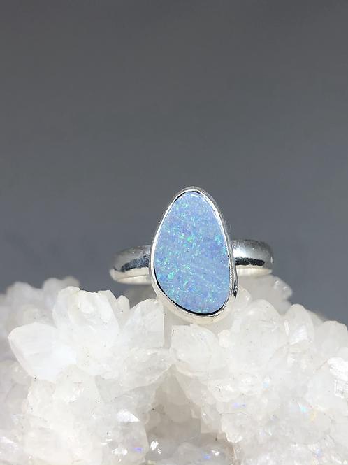 Sterling Silver Australian Doublet Opal Ring 10