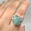 Thumbnail: Sterling Silver Prase Aqua Ring Size 9