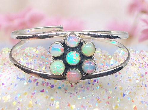 Sterling Silver Ethiopian Opal Bangle