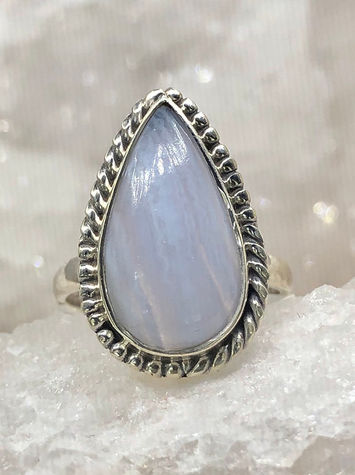 Sterling Silver Blue Lace Agate Ring Size 6.5