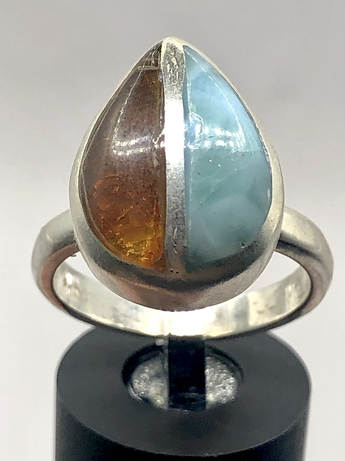 Sterling Silver Amber Larimar Ring Size 8.5