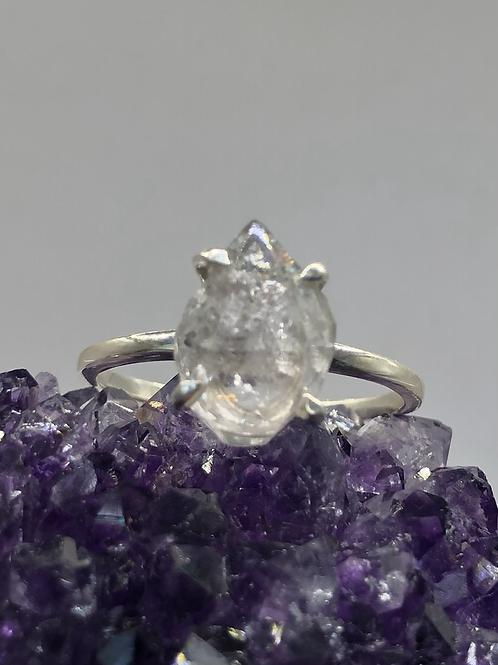 Sterling Silver Herkimer Diamond Ring Size 8
