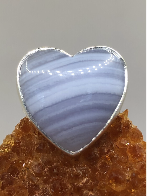 Sterling Silver Blue Lace Agate Ring Size 6