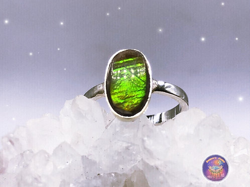 Sterling Silver Ammolite Ring Size 5.5