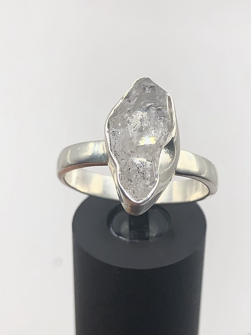 Sterling Silver Herkimer Diamond Ring Size 8.5