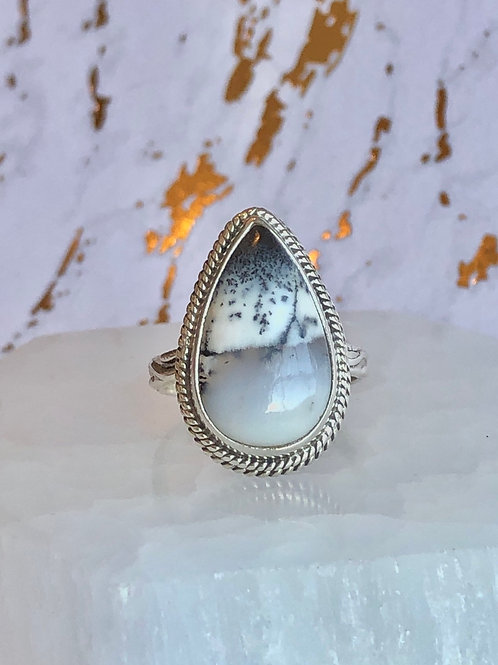 Dendritic Opal ring size 7