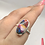 Thumbnail: Sterling Silver Spiny Oyster Arizona Turquoise Ring Size 10