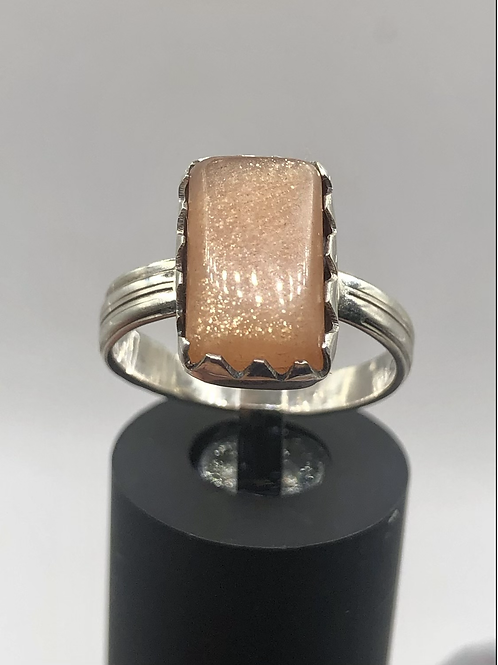 Sterling Silver Sunstone Ring Size 6.5
