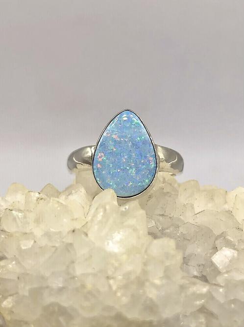 Sterling Silver Australian Opal Ring Size 10