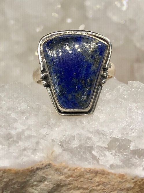 Sterling  Silver Lapis Lazuli Ring Size 8