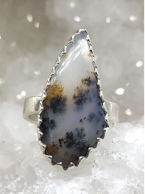 Sterling Silver Dendritic Agate Ring Adj