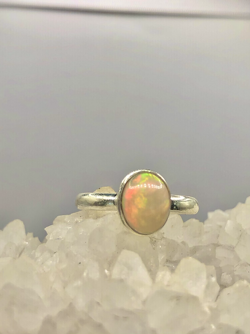 Sterling Silver Ethiopian Opal Ring Size 8