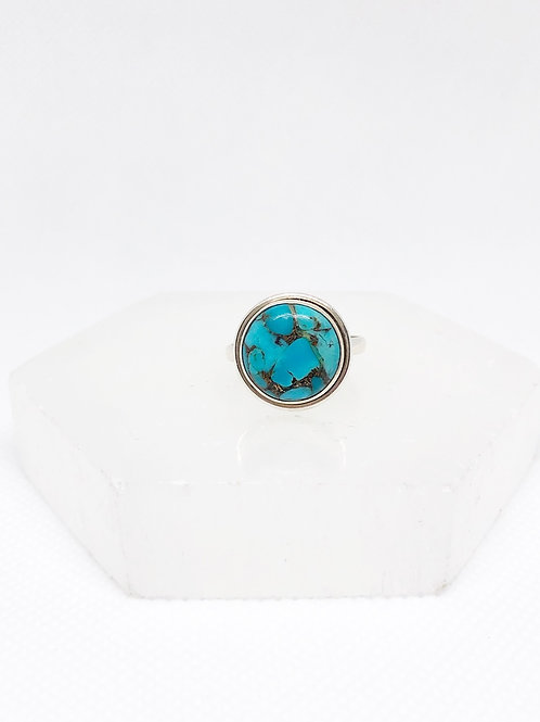 Copper turquoise ring size 7