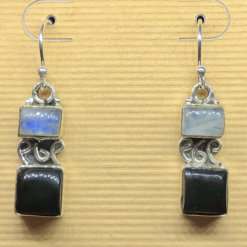 Sterling  Silver Moonstone and Onyx Earrings