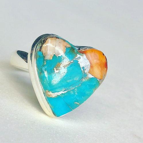 Spiny Oyster Arizona Turquoise ring size 6
