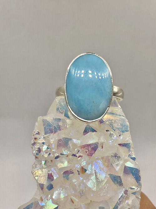 Sterling Silver Larimar Ring Size 9