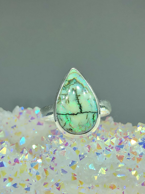Sterling Monarch Opal Ring Size 7.5