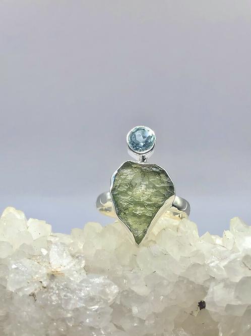 Sterling Silver Czech Moldavite Ring Size 9