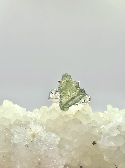 Sterling Silver Moldavite Ring Size 9