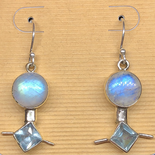 Sterling  Silver Moonstone and Topaz Earrings