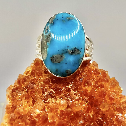 Sterling Silver Persian Turquoise Ring Size 8