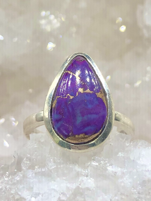 Sterling Silver Purple Turquoise Ring Size 7.5