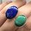 Thumbnail: Sterling Silver Lapis and Malachite Ring Adj