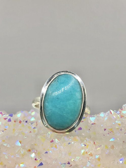 Sterling Silver Amazonite Ring Size 10