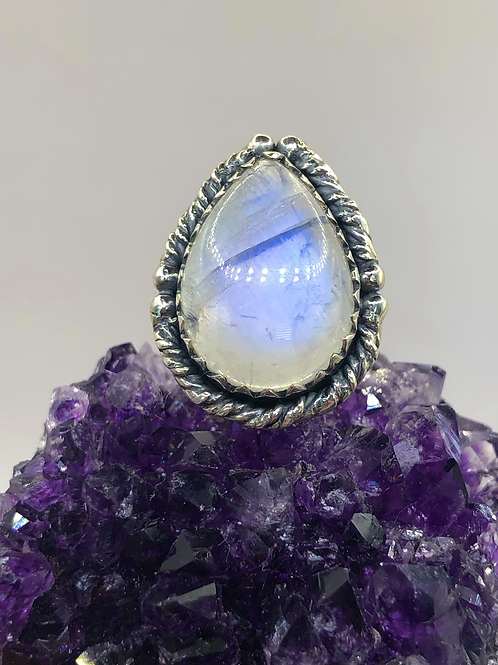 Sterling Silver Moonstone Ring Size 5