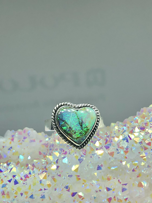 Sterling Monarch Opal Ring Size 7