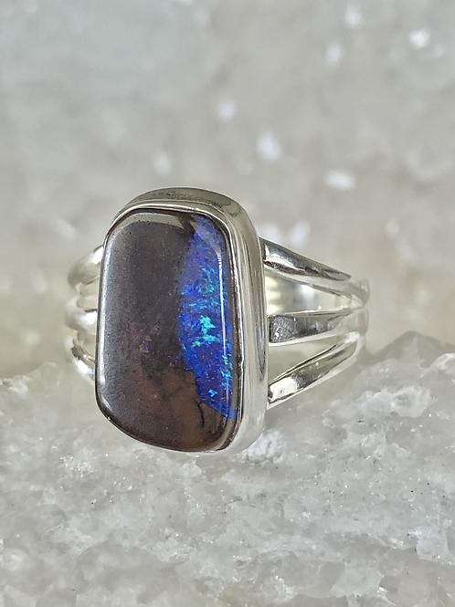 Sterling Silver Australian Boulder Opal Ring Size 6.5