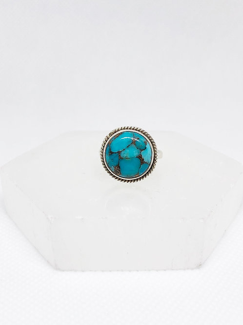 Copper turquoise ring size 6
