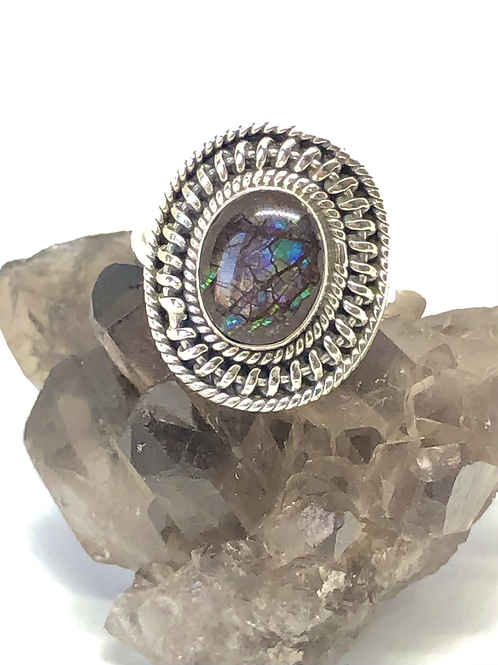 Sterling silver Ammolite ring size 9