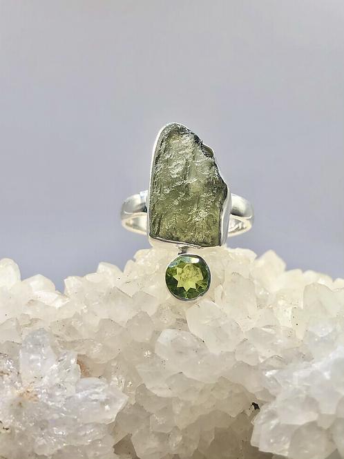 Genuine Czech Moldavite Ring size 8