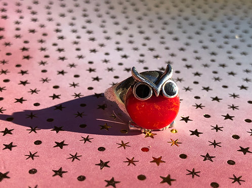 Coral Owl ring size 6