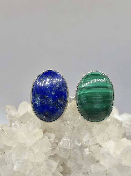Sterling Silver Malachite and Lapis Ring Adj
