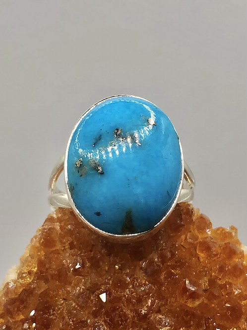 Sterling Silver Persian Turquoise Ring Size 7.5