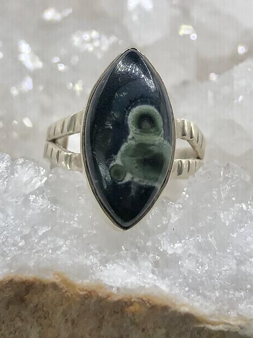 Sterling Silver Galaxy Jasper Ring Size 6