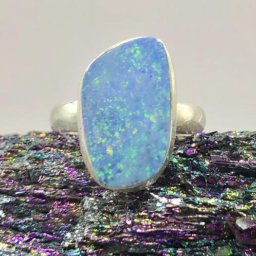 Sterling Silver Australian Opal Ring Size 5.5