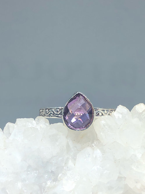 Sterling Silver Amethyst Ring Size 7